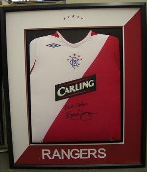 Framed Rangers Football Shirts