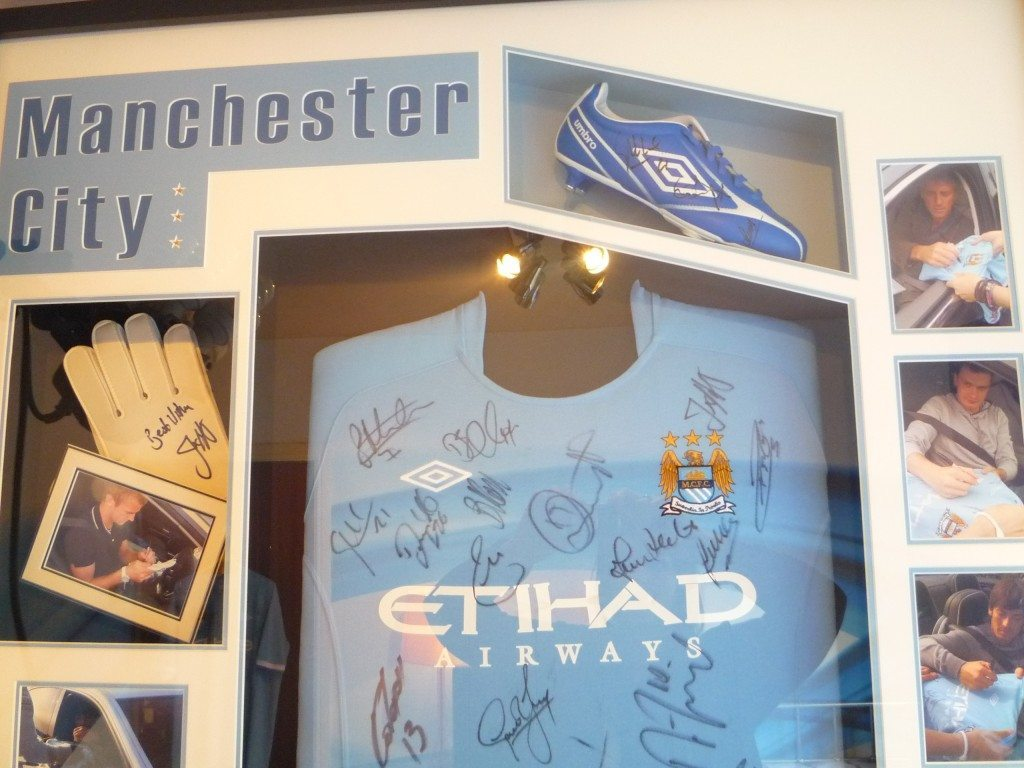 Manchester City Top, Boot and Glove Close Up